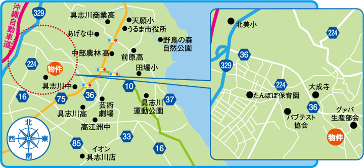 兼箇段の丘地図