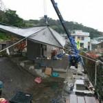 雨の中での工事風景・みくにの新川の丘